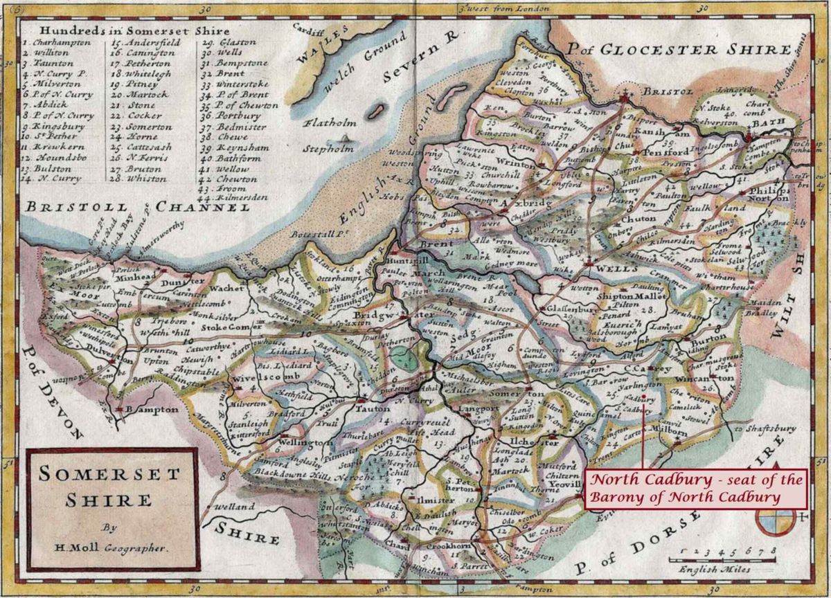 Map Somersetshire Moll 1724